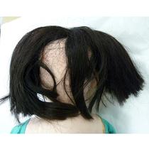 市松人形・髪:修理前